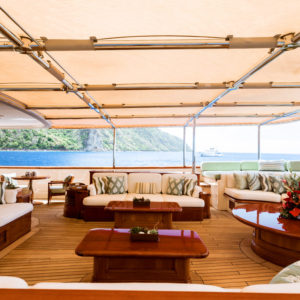 Shaded seating area on NERO Yacht.