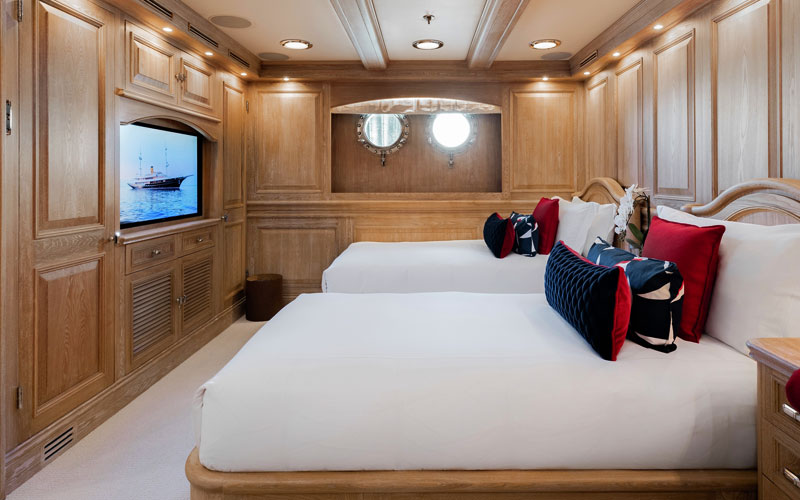Side view of twin bedroom in the NERO Yacht.