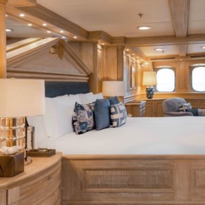 Side view of NERO Yacht bedroom.